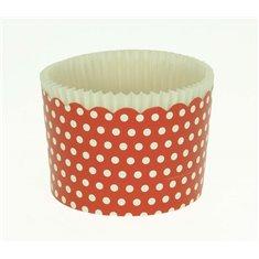 Κυπελάκια Cupcakes με καραμελόχαρτο Μεγάλα Δ7xΥ4,5εκ. - Κόκκινο με Λευκό Πουά - 65τεμ