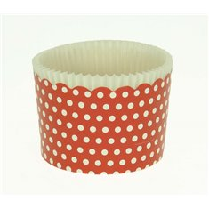 Large Cupcake Cups with anti-stick Baking Sheet D7xH4,5cm. - Red with White Polka - 65pc