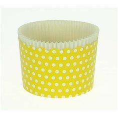 Κυπελάκια Cupcakes με καραμελόχαρτο Μεγάλα Δ7xΥ4,5εκ. - Κίτρινο με Λευκό Πουά - 65τεμ