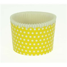 Large Cupcake Cups with anti-stick Baking Sheet D7xH4,5cm. - Yellow with White Polka - 20pc