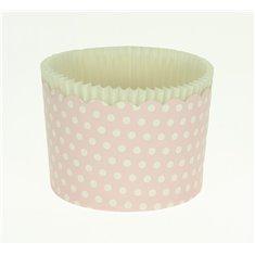 Κυπελάκια Cupcakes με καραμελόχαρτο Μεγάλα Δ7xΥ4,5εκ. - Ροζ με Λευκό Πουά - 65τεμ