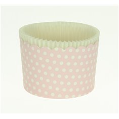 Large Cupcake Cups with anti-stick Baking Sheet D7xH4,5cm. - Pink with White Polka - 20pc