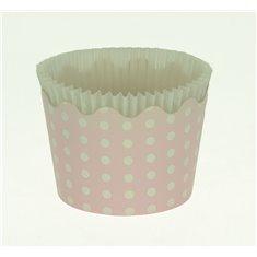 Κυπελάκια Cupcakes με καραμελόχαρτο Μικρά Δ5,7xΥ4εκ. - Ροζ με Λευκό Πουά - 20τεμ