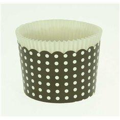 Κυπελάκια Cupcakes με καραμελόχαρτο Μεγάλα Δ7xΥ4,5εκ. - Μαύρο με Λευκό Πουά - 65τεμ