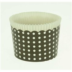 Large Cupcake Cups with anti-stick Baking Sheet D7xH4,5cm. - Black with White Polka - 20pc