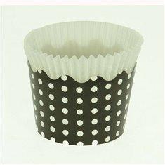 Κυπελάκια Cupcakes με καραμελόχαρτο Μικρά Δ5,7xΥ4εκ. - Μαύρο με Λευκό Πουά - 20τεμ