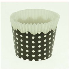 Small Cupcake Cups with anti-stick Baking Sheet D5,7xH4cm. - Black with White Polka - 20pc