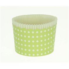 Κυπελάκια Cupcakes με καραμελόχαρτο Μεγάλα Δ7xΥ4,5εκ. - Πράσινο με Λευκό Πουά - 65τεμ