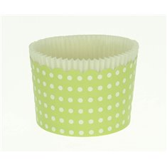 Large Cupcake Cups with anti-stick Baking Sheet D7xH4,5cm. - Green with White Polka - 65pc