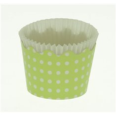 Small Cupcake Cups with anti-stick Baking Sheet D5,7xH4cm. - Green with White Polka - 20pc