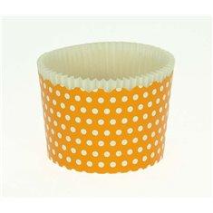 Κυπελάκια Cupcakes με καραμελόχαρτο Μεγάλα Δ7xΥ4,5εκ. - Πορτοκαλί με Λευκό Πουά - 65τεμ