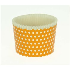 Large Cupcake Cups with anti-stick Baking Sheet D7xH4,5cm. - Orange with White Polka - 20pc
