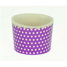 Large Cupcake Cups with anti-stick Baking Sheet D7xH4,5cm. - Lilac with White Polka - 65pc
