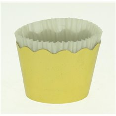 Small Cupcake Cups with anti-stick Baking Sheet D5,7xH4cm. - Gold - 20pc
