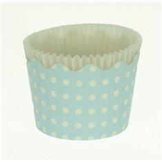 Κυπελάκια Cupcakes με καραμελόχαρτο Μικρά Δ5,7xΥ4εκ. - Γαλάζιο Λευκό Πουά - 65τεμ