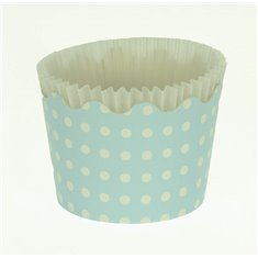 Small Cupcake Cups with anti-stick Baking Sheet D5,7xH4cm. - Light Blue with White Polka - 65pc