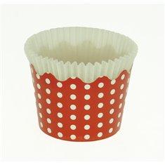 Κυπελάκια Cupcakes με καραμελόχαρτο Μικρά Δ5,7xΥ4εκ. - Κόκκινο με Λευκό Πουά - 65τεμ