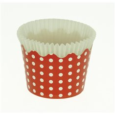 Small Cupcake Cups with anti-stick Baking Sheet D5,7xH4cm. - Red with White Polka - 65pc