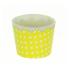 Κυπελάκια Cupcakes με καραμελόχαρτο Μικρά Δ5,7xΥ4εκ. - Κίτρινο με Λευκό Πουά - 65τεμ