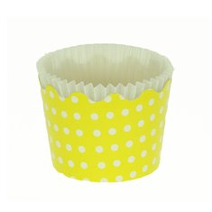 Small Cupcake Cups with anti-stick Baking Sheet D5,7xH4cm. - Yellow with White Polka - 65pc