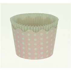 Small Cupcake Cups with anti-stick Baking Sheet D5,7xH4cm. - Pink with White Polka - 65pc