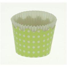 Κυπελάκια Cupcakes με καραμελόχαρτο Μικρά Δ5,7xΥ4εκ. - Πράσινο με Λευκό Πουά - 65τεμ