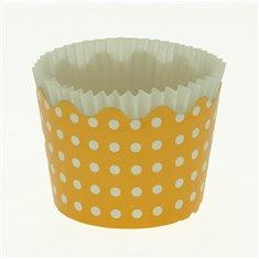 Κυπελάκια Cupcakes με καραμελόχαρτο Μικρά Δ5,7xΥ4εκ. - Πορτοκαλί με Λευκό Πουά - 65τεμ