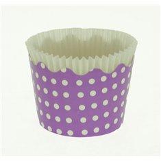 Κυπελάκια Cupcakes με καραμελόχαρτο Μικρά Δ5,7xΥ4εκ. - Λιλά με Λευκό Πουά - 65τεμ