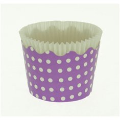 Small Cupcake Cups with anti-stick Baking Sheet D5,7xH4cm. - Lilac with White Polka - 65pc