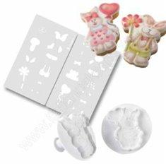Καλούπι & Stencil μπισκότου σε σχέδιο ερωτευμένα κουνελάκια