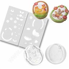 Cookie molds chicken and rabbit and airbrush stencil