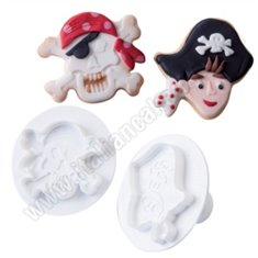 Martellato 2 Pcs Kit Cookie Plunger Cutter - Pirates and Skull