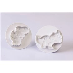 Kit 2 Pcs Dinosaurs Cookie Cutter