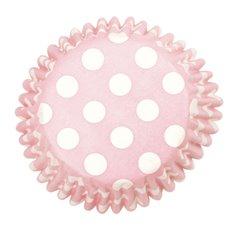 Θήκες Cupcakes Ροζ με Λευκό Πουά 5εκ. - 54τεμ.
