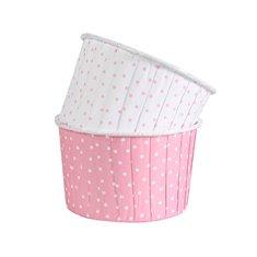 Θήκες Cupcakes Ροζ με μικρό λευκό πουα 5,8εκ. - 24τεμ.