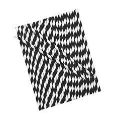 Candy Stripe Cake Pop Straws - Black-White 25pcs