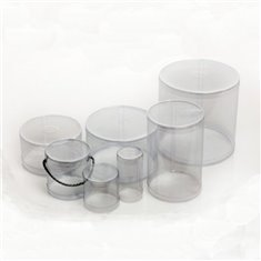 Cylindrical PE Clear Plastic Box for Easter Egg with lower paper support D15xH24 - for Easter Egg 400g.