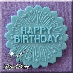 Καλούπι Ζαχαρόπαστας Happy Birthday της Alphabet Moulds (Happy Birthday Cupcake Topper)