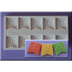 Καλούπι Ζαχαρόπαστας Νούμερα σε Σημαιάκια της Alphabet Moulds (Ribbon Bunting Numbers)