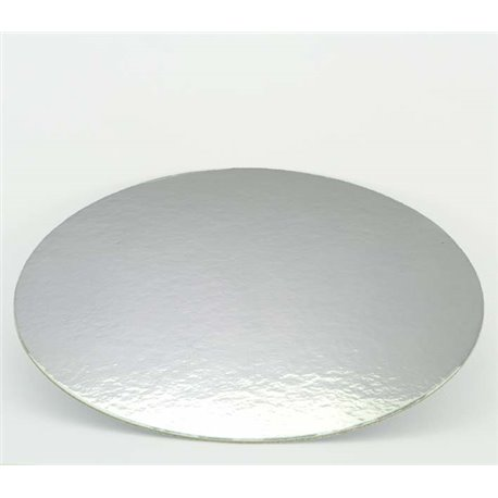 """10"""" Silver-White Double Face Round Cut Edge Cake Cards (1,5mm Thick) 1pc."""