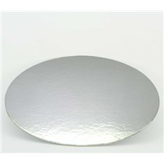 """11"""" Silver-White Double Face Round Cut Edge Cake Cards (1,5mm Thick) 1pc."""