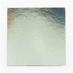 """6"""" Silver-White Double Face Square Cut Edge Cake Cards (1,5mm Thick) 1pc."""