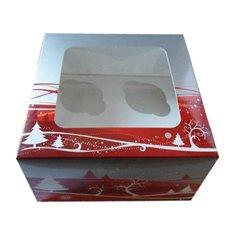 Χριστουγεννιάτικο Κουτί για 4 Cupcakes / Muffins με παράθυρο 17,8x10,16