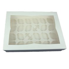 High quality 24 cavity deep cupcake SuperBox with insert & clear window lid - White. Size: 48 x 35 x 10cm approx.