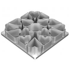 "Multi-Mini Σετ 16τεμ.  Φόρμες Ψησίματος σε σχήμα Καρδιάς Διαμ.6,35εκ (2 1/2""in) της Silverwood"