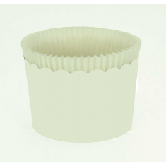 Large Cupcake Cups with anti-stick Baking Sheet D7xH4,5cm. White 65pc