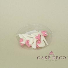 Γυναικείες λευκές Γόβες με ροζ φιόγκο (5τεμ.)