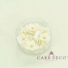 Cake Deco White Petunia with gold pearl (30pcs)