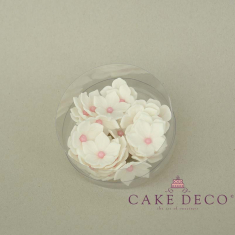 Cake Deco White Petunia with babypink pearl (30pcs)