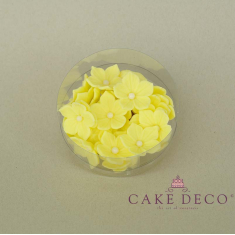 Cake Deco yellow Petunia with white pearl (30pcs)